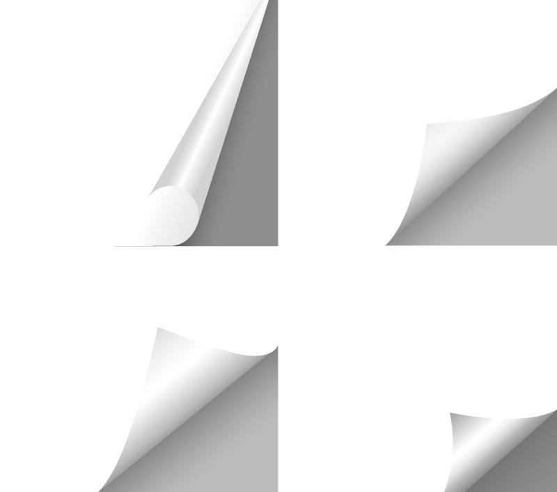 边.���j9.'9�g_4款白色掀边贴纸矢量素材