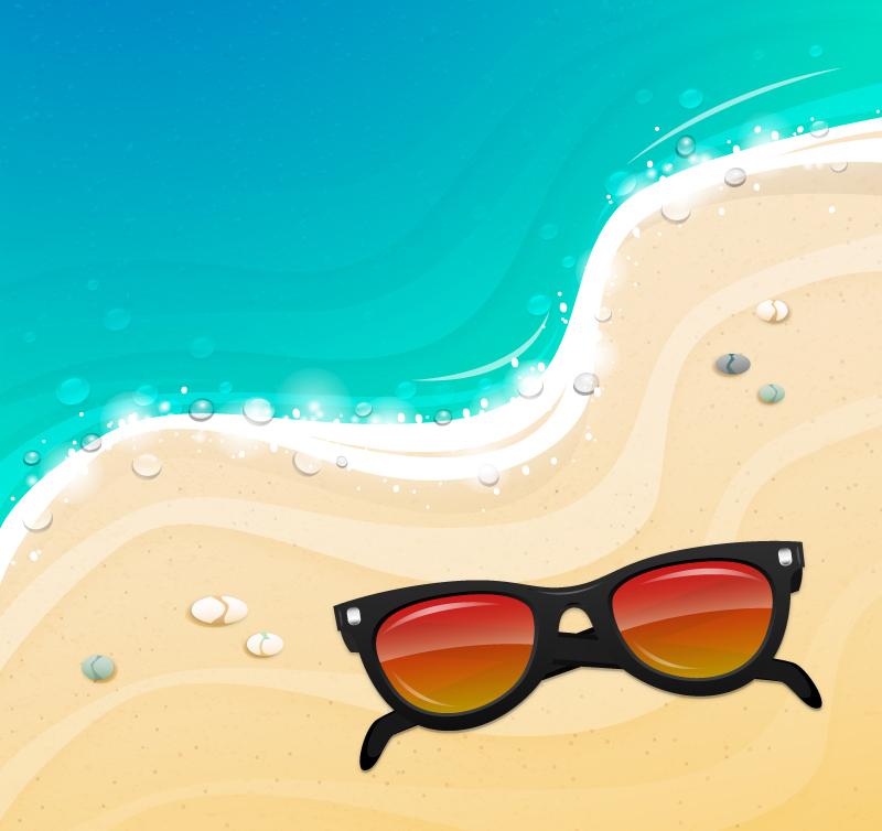 沙滩上的太阳镜矢量素材图片