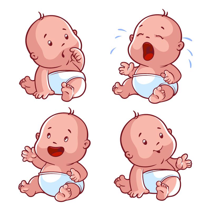 eps格式,含jpg预览图,关键字:婴儿,尿布,哭泣,表情,疑惑,专注,笑,啼哭图片