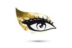 金色眼影眼睛设计矢量图