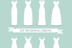 8款白色婚纱设计矢量素材