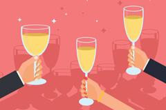 举起香槟酒的手臂矢量素材