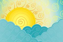 抽象云层中的太阳矢量素材
