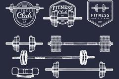 11款健身训练器材与标签矢量图