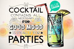 手绘鸡尾酒派对海报矢量图