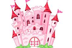 粉色童话城堡矢量素材