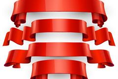 5款红色丝带条幅矢量图