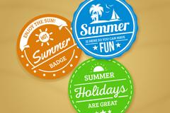 3款彩色夏季度假标签矢量素材