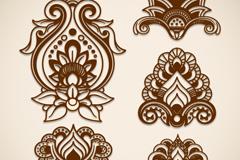 5款剪纸对称花纹矢量素材