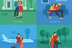 4款创意夫妇插画矢量素材