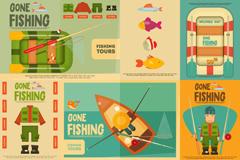 8款复古钓鱼海报矢量素材