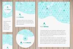 6款绿色三角形商务卡片矢量图