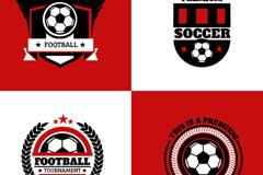 4款红色足球标志矢量图