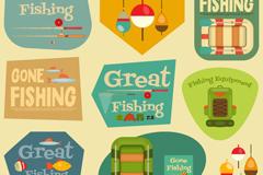 9款复古钓鱼标签矢量素材