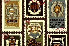 9款复古啤酒邮票矢量素材