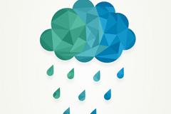 几何形下雨的云朵矢量素材