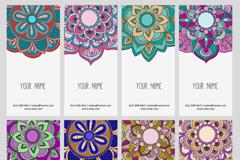 8款民族花纹卡片设计矢量素材