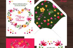 4款精美花卉婚礼卡片矢量图