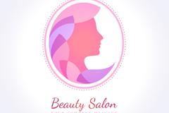 女子侧脸美容院标志矢量图