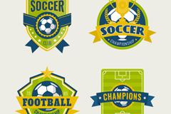 4款创意足球标签矢量素材
