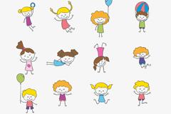 16款卡通玩耍儿童矢量图