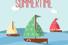 夏日帆船剪贴画矢量图