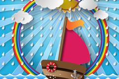 帆船和彩虹剪贴画矢量素材