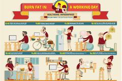 健康工作日信息图矢量素材