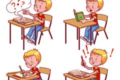 4款学习的男孩设计矢量图