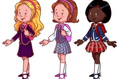 3款卡通女学生矢量素材