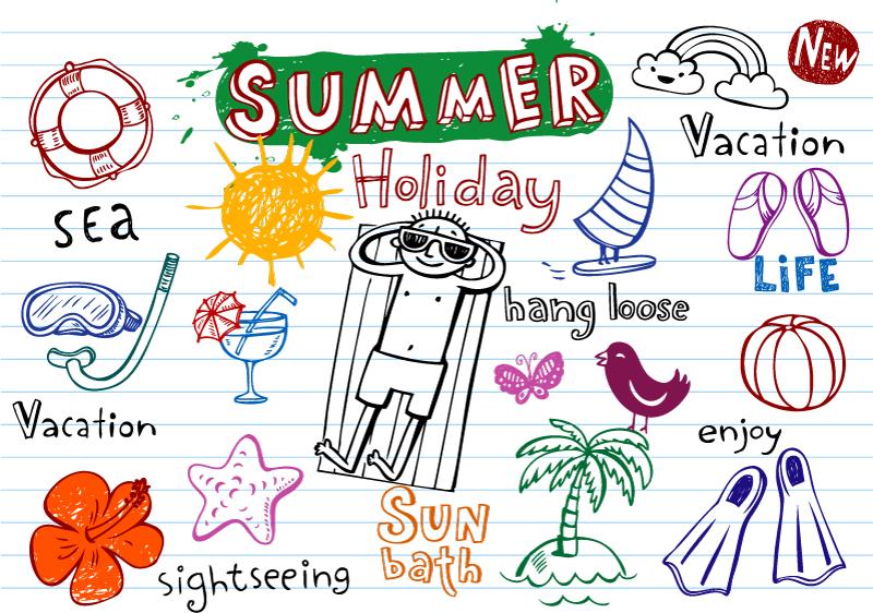 15款手绘夏季元素矢量素材