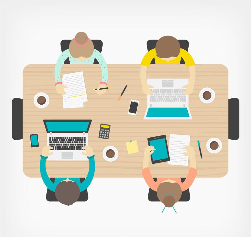 商务会议俯视图设计矢量图