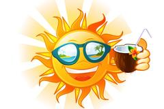 喝椰汁的太阳矢量素材
