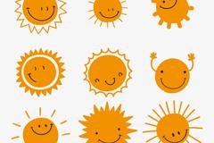 9款微笑太阳设计矢量图
