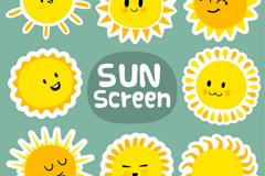 8款卡通太阳矢量素材
