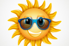 卡通戴墨镜的太阳矢量素材