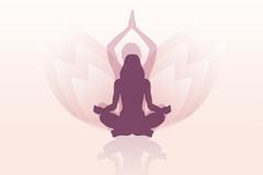 莲花背景瑜伽女子标志矢量素材