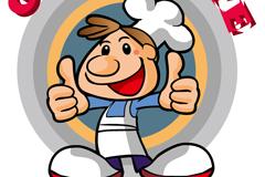 卡通厨师标志矢量素材