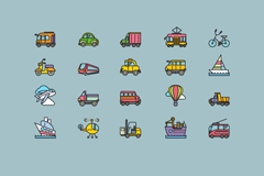20款彩色交通工具图标矢量图