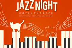 创意爵士乐音乐会海报矢量素材