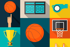 9款精致篮球元素图标矢量图