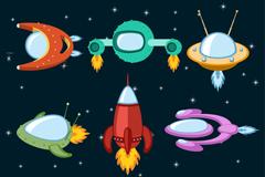 9款卡通宇宙飞船矢量图