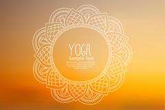 花纹圆环瑜伽海报矢量素材