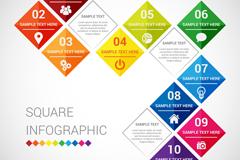 彩色菱形拼接商务信息图矢量图