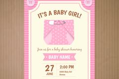 粉色迎婴派对邀请卡矢量图