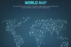 蓝色光点连线世界地图矢量图