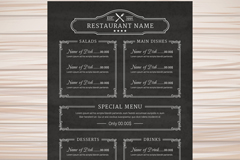 黑色餐厅菜单设计矢量素材