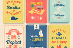 6款复古夏日卡片矢量素材