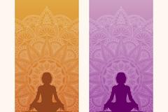 2款彩色瑜伽banner矢量素材