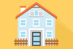 精致带栅栏房屋设计矢量素材